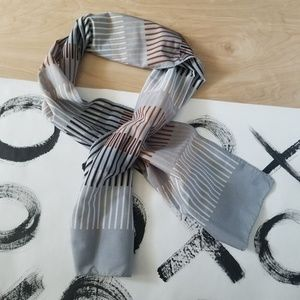 Vintage Rectangle Gray Striped Scarf Mod Neutrals